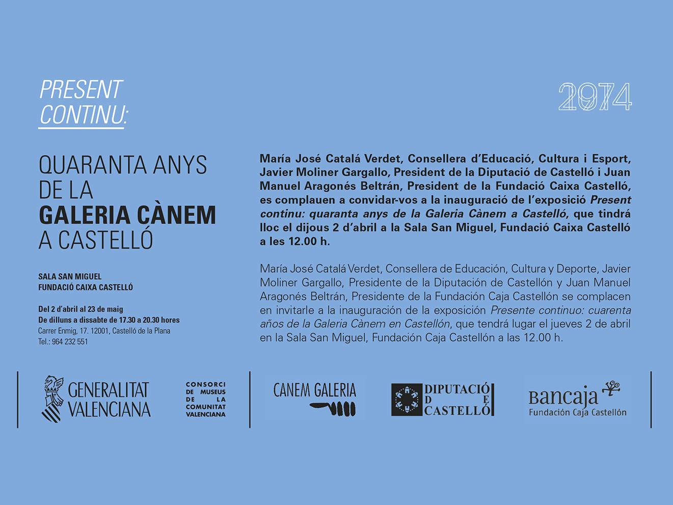 Invitation – Present Continu: Quaranta Anys de la Galería Cànem a Castelló