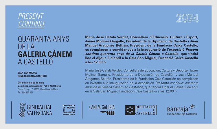 Invitation – Quaranta Anys de la Galería Cànem a Castelló