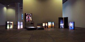 Installation of Chema Alvargonzalez's suitcases in Tránsito Solo exhibition, 2014.